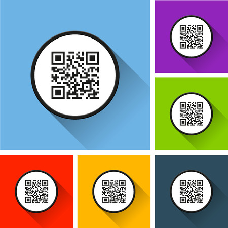 Illustration of QR code icons with long shadow.