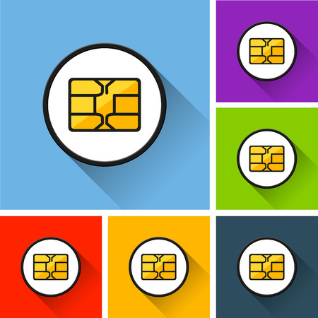 Illustration of chip icons with long shadow.