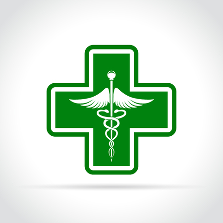 Illustration of medical green cross icon concept