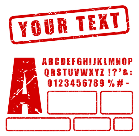 Illustration of red stamp letters and numbers set