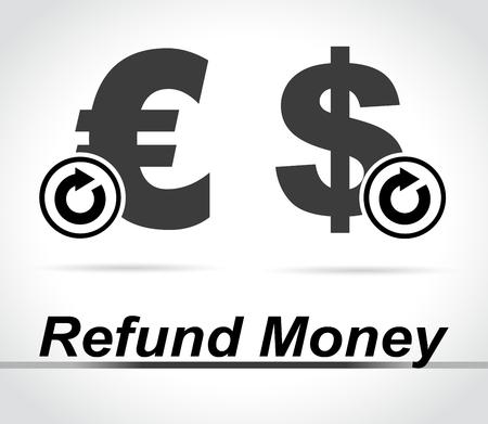 Illustration of refund money icons on white background Archivio Fotografico - 99741919