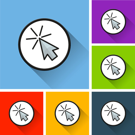 Illustration of cursor icons with long shadow Banque d'images - 98976936