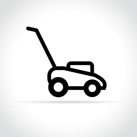 illustration of lawn mower icon on white background