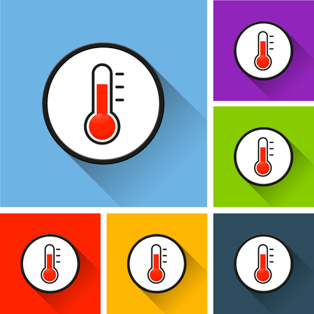 Illustration of thermometer icons with long shadow Stock Illustratie