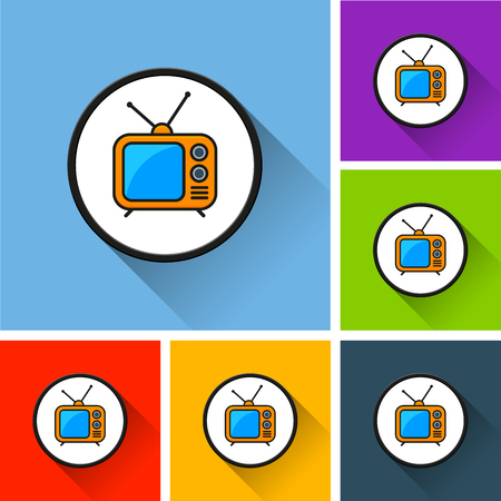 Illustration of retro tv icons with long shadow
