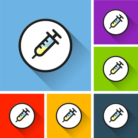 Sets of syringe icons with long shadow on colored illustration. Illustration