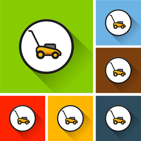 Sets of lawn mower icons with long shadow on colored illustration.