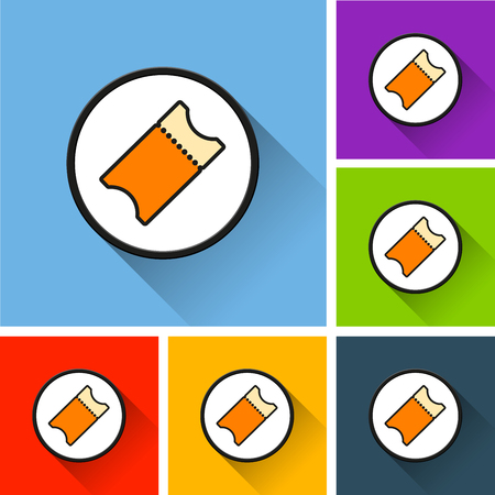 Sets of ticket icons with long shadow on colored illustration. Illustration