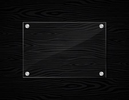 Illustration of acrylic frame on black wood background  イラスト・ベクター素材