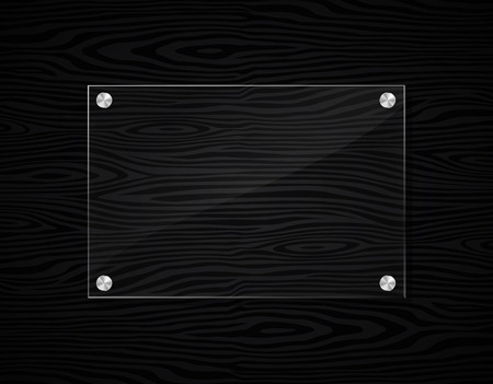 Illustration of acrylic frame on black wood background Ilustração