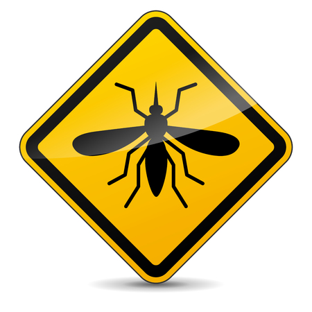 Illustration of mosquito yellow sign on white background Illustration