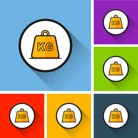 Illustration of weight icons with long shadow
