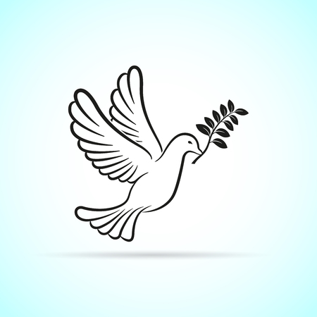 Illustration of dove icon on white background