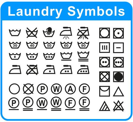 Illustratie van wassymbolen die op witte achtergrond worden geplaatst