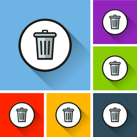 Illustration of bin icons with long shadow Vettoriali