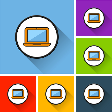Illustration of laptop icons with long shadow