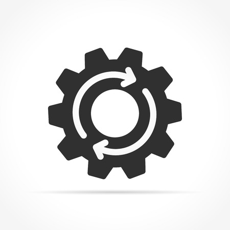 Illustration of gear with arrows icon on white background
