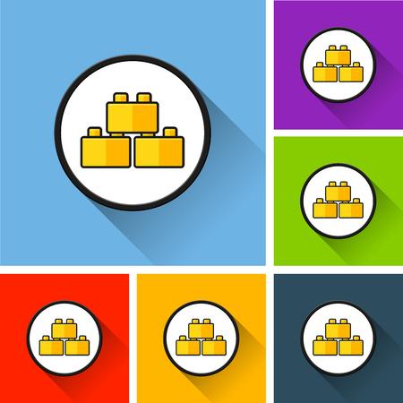 Illustration of blocks icons with long shadow Illustration