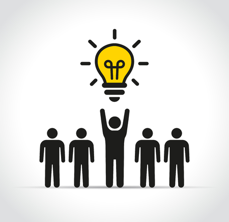 Illustration of people with lightbulb concept design Çizim