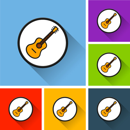 Illustration of guitar icons with long shadow Illustration