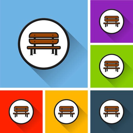 Illustration of bench icons with long shadow
