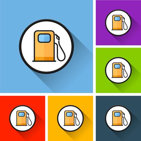 Ilustración de los iconos de la bomba de combustible con una larga sombra Ilustración de vector