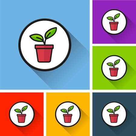 Illustration of plant icons with long shadow