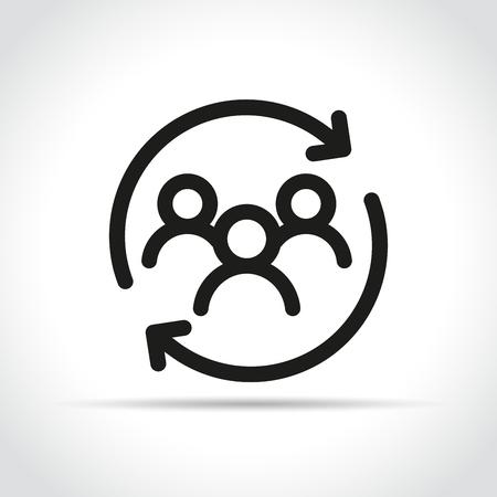 Illustration von Personen mit Pfeilsymbol auf weißem Hintergrund Vektorgrafik