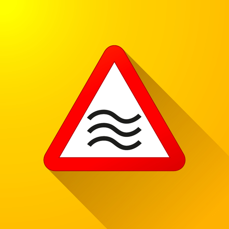 Illustration of flood sign concept on yellow background