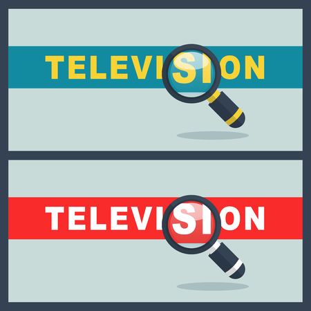 Illustration of television word with magnifier concept