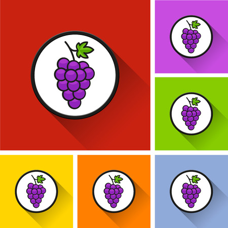 Illustration of grapes icons with long shadow Ilustração