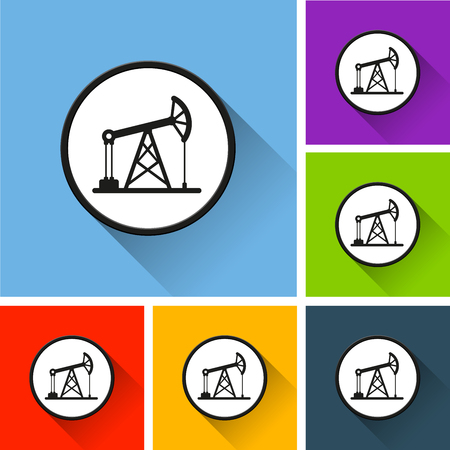 Illustration of pump icons with long shadow Illustration