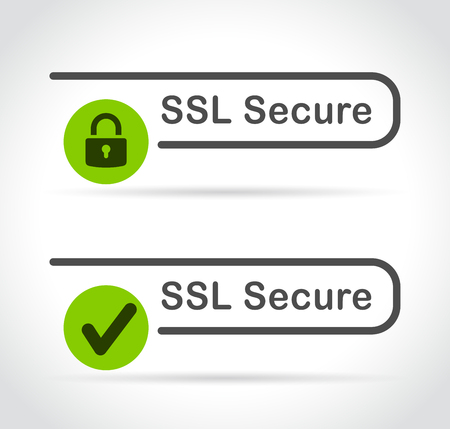 Illustration of ssl secure icons on white background