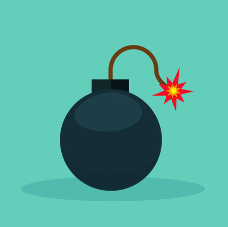 Illustration of bomb icon on green background