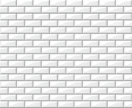 Illustration of white tiles wall background design 免版税图像 - 101981833
