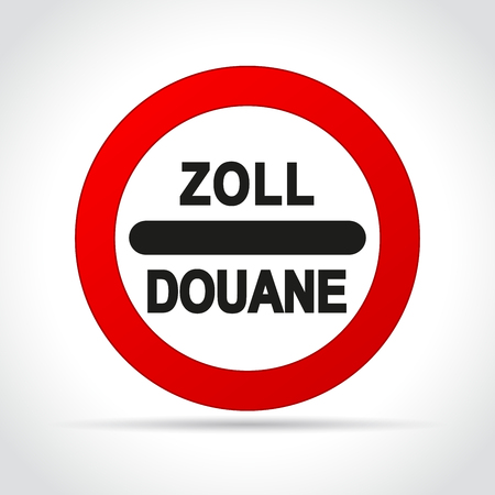 Illustration of zoll douane sign on white background 向量圖像