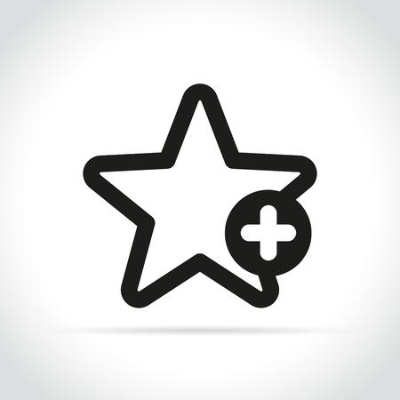 Illustration de l'étoile avec signe plus sur fond blanc Vecteurs