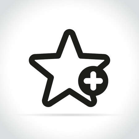 Illustration of star with plus sign on white background