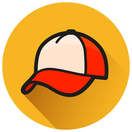 Illustration of cap circle orange flat icon