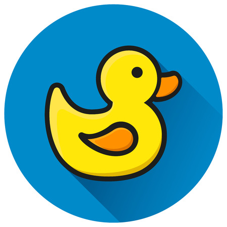 Illustration of duck circle blue flat icon