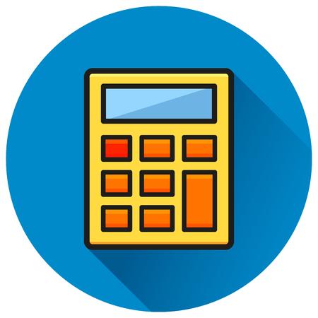 Illustration of calculator circle blue flat icon Illustration