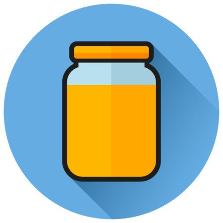Illustrazione dell'icona blu piana del cerchio della marmellata