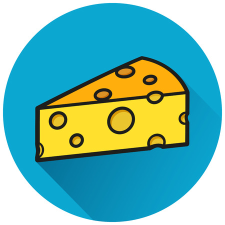 Illustration of cheese circle blue icon concept