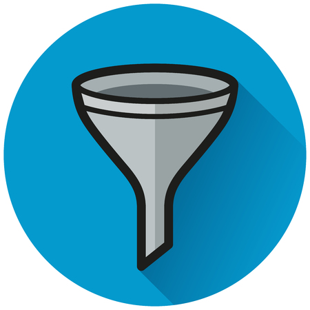 Illustration of funnel circle flat blue icon Çizim