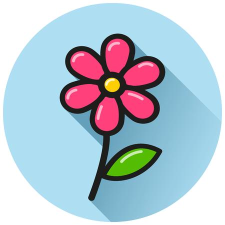 Illustration of flower circle flat blue icon Çizim