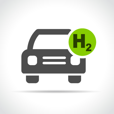 Illustration of hydrogen car icon on white background Ilustração