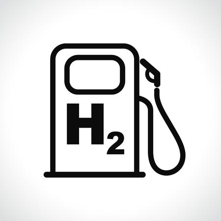Illustration of hydrogen car station icon on white background