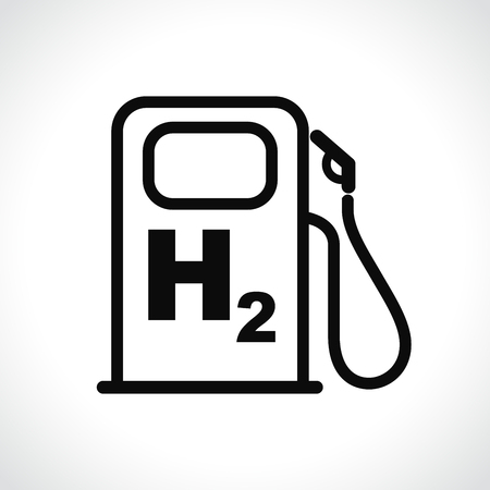 Illustration of hydrogen car station icon on white background