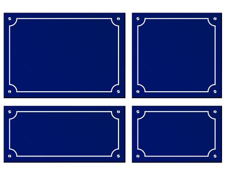 Ilustracja czterech rozmiarów tablice niebieskie tło