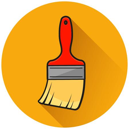 Illustration of paint brush circle orange icon